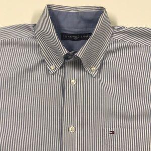 TOMMY HILFIGER Blue White Oxford Dress Shirt LARGE